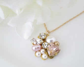 Simple bridal necklace, Pink and gold pendant necklace, Swarovski crystal and pearl bridal necklace, Blush  wedding necklace