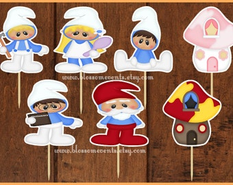 Blue Village People Cupcake Toppers (12)