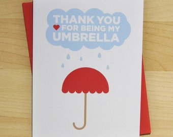 Thank You For Being My Umbrella A2 Card