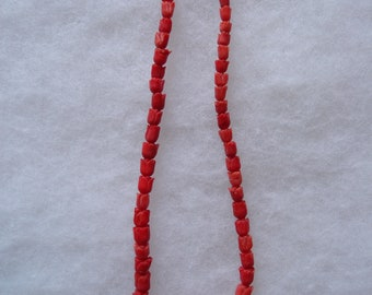"""Vintage Hand Natural Red Coral Carved Tulip Beads Necklace 17"""""""