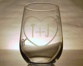 Personalized Heart and Initials Stemless Wine Glass