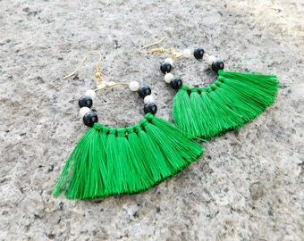 Statement Earrings / Fringe Earrings / Tassel Earrings / Green Tassel Earrings / Green Earrings