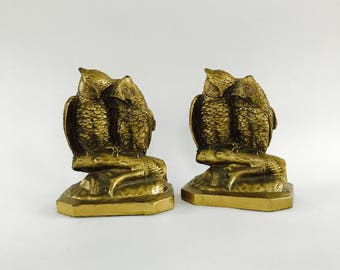Owl Decor. Brass Bookends. Loving Friendship Owls. Winter Home Decor. Christmas Hostess Gift. Unisex. Study.