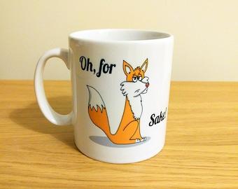 Oh, for (Fox) sake!, fox mug, gift set, funny cup, mug for him, cup for her, coffee drinker gift, punny gifts, sweary mug, fox pun, FFS