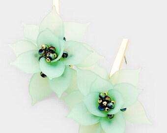 Flower Earrings - Mint