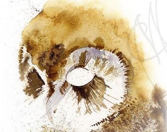 "Martinefa's Original watercolor and Ink ""Owl"""