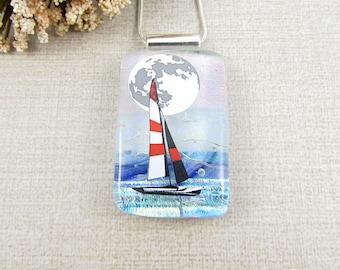 Glass Sailboat Pendant - Fused Dichroic Sailboat Necklace - Glass Nautical Jewelry for the Sailer in Your Life