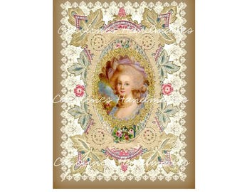 "Marie Antoinette Collage #26 Cotton Fabric Quilt Block (1) @ 5X7"" on 8.5X11"" Sheet"