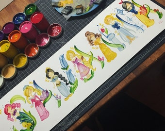 Princess, Royal, Fairytale Name Painting - Custom, Made to Order