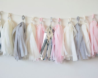 Pink-a-Boo Tassel Garland (15), Pink Grey Garland, Baby Girl Shower Decor, Baby Girl Nursery Decor, Girl Room Wall Decor, Gray Pink Bridal