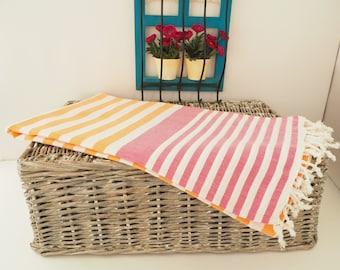 Orange and FuchsiaPink Stripe Turkish Towel,Orange Cotton Towel,Orange Towel,Orange Striped Peshtemal,Orange Stireped Beach Towel,Bath Towel