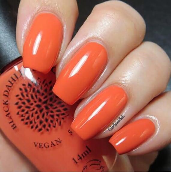 Orange Nail Polish Nz: Coral Orange Creme Nail Polish By Black Dahlia Lacquer