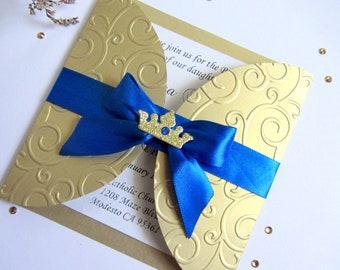 Royal Prince First Birthday Invitation, Prince 1st Birthday Invitation, Prince Baptism, Royal Blue & Gold, Prince Baby Shower, 1st Birthday