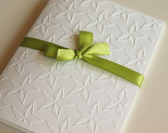 Stars White Embossed Greeting Cards - Note Card Set of 5 - A2 Size - Everyday - Thank You