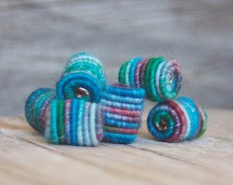 7 Barrel Beads - Handmade Fabric Textile Beads for Artisan Jewelry Designs - Fiber Art Beads - Textile Art Beads - Hippie Boho Beads