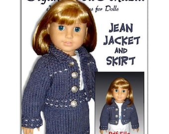 pdf 18 in. doll knitting pattern. Fits American Girl Doll. Jean jacket and Skirt 012