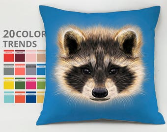 Racoon pillow case Cushion case Decorative pillow Throw pillow cover Animal pillow Racoon Cushion country house pillow pet lover gift