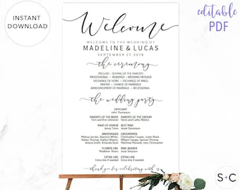 Wedding Program Sign, Welcome Wedding Sign, Program Sign, Wedding Sign, Wedding Poster, Large Wedding Sign, Printable Wedding Sign