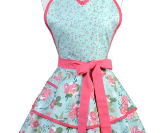 Flirty Pinup Apron - Womens Teal Pink Rose Floral Kitchen Apron - Sexy Cute Sweetheart Apron with 2 Skirts and Pocket - Monogram Option