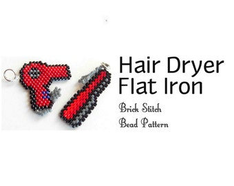 Hair Dryer Flat Iron Brick Stitch Beading Patterns, Miyuki Delica Sead Beads - DIGITAL DOWNLOAD