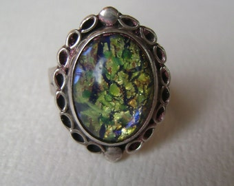 fabulous foil glass opal sterling ring, size 6