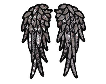 Angel Wings Iron On Applique, Sequin Patch, Angel Applique, Wings Applique, Angel Patch, Embroidered Patch, 1.5 x 3.5 inches each wing
