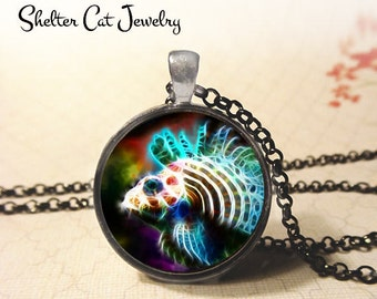 """Lion Fish in Fractals Necklace - 1-1/4"""" Circle Pendant or Key Ring - Handmade Wearable Photo Art Jewelry - Nature Art Marine Life Fish Gift"""