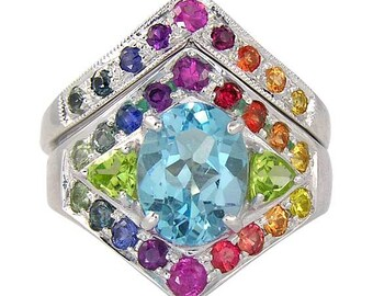 Rainbow Pride Engagement Wedding Ring 925 Sterling Silver (0.89ct tw) : SKU 1569B-925