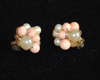 DeMario Signed Cluster Earrings, DeMario Clip Earrings, Vintage Estate DeMario, Cluter Earrings