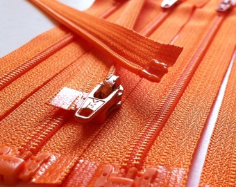 3mm Nylon Coil YKK Separating Zippers Color 006 Orange- 5pcs- Available in 5,6,7,10 and 14 Inch