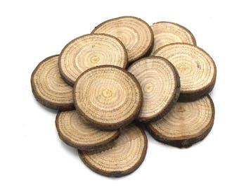 x 50 Scheiben aus Holz der Kastanie für o35 Dekoration aus Holz ~ 45mm - biologische kein Vertrag, kein Lack-/oak Scheiben für die Dekoration aus Holz
