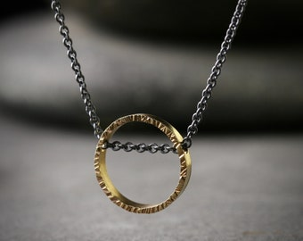 18k yellow gold and oxidized sterling silver hammered circle necklace pendant