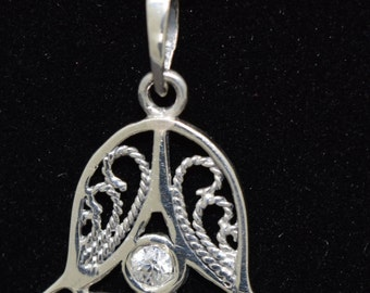 Sterling Silver Fatima Hand/Hamsa Hand with CZ crystal includes Chain