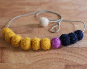 Felt Ball Necklace // Mustard, Heather & Navy