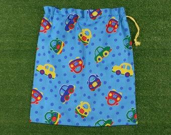 Drawstring library bag or toy bag for boys, cars, large blue cotton drawstring bag
