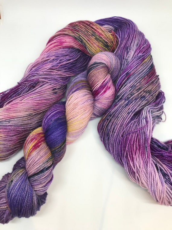 Orbital - 100g Superwash Merino / Nylon / Gold Stellina Sparkle Sock Yarn 4 ply, fingering, hand dyed purple pink yellow speckles