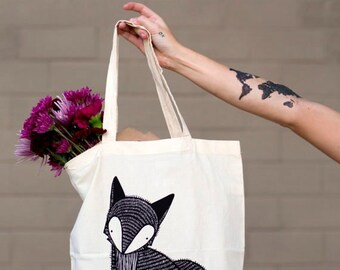 Fox Tote Bag, Fox Grocery Bag, Fox Gift Bag, Fox Cloth Bag, Woodland Tote Bag, Farmer's Market Fox Bag, Gift For Her