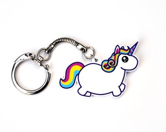 Chubby Unicorn Keychain, Rainbow Fat Pony Key Chain, Colorful Funny Mythical Creature, Kawaii Cute Uni