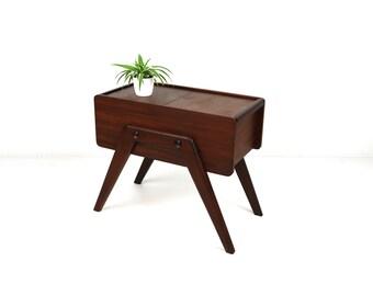 vintage  teak wood and midcentury modern sewingbox knitting box organiser aditional table side table 1960 furniture danish 60