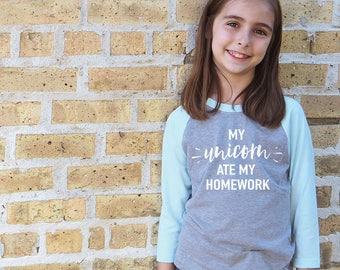 My Unicorn Ate My Homework Shirt - Kids Funny Tee Shirt - Unicorn Kids Shirt - Youth Raglan Shirt - Unicorn Shirt for Girls - Gift for Tween