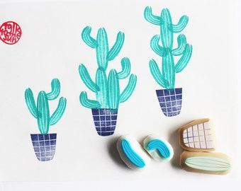 cactus rubber stamps | cacti garden stamp | nature lover gift | diy | birthday card making | hand carved by talktothesun | set of 4