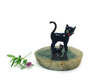 Vintage Black Cat Figurines, Glass Cat and Kitten on a Geode