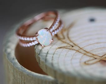 Women's Engagement Ring with Opal Stone Set on 14K Rose Gold Diamond Band  - Staghead Designs