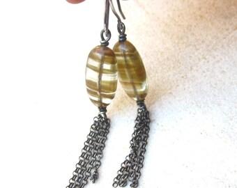 Golden line quartz earrings, stone dangle earrings, sterling silver earrings, chain tassel earrings, minimal earrings, contemporary jewelry
