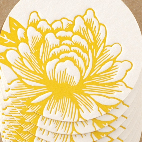 Letterpress Coasters : Sunshine Yellow Blossoming Flower Coaster Set - 6 coasters in brown kraft box