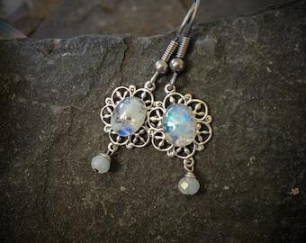 Moonstone Earrings, Silver and Moonstone Earrings, Moon Stone Earrings, Victorian Earrings, Victorian Dress, Moonstone Jewelry, Art Nouveau