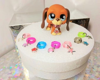 Littlest Pet Shop Accessories Custom Charm Collars - Lot of 5 (Random) LPS