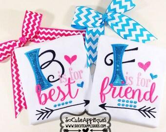 BEST friends Embroidery design 5x7 6x10 Best friends embroidery, socuteappliques, embroidery sayings, best friends applique arrow embroidery