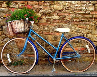 French bicycle photography print, France photography, bicycle print, Mediterranean decor, bicycle art, Paris photography, blue photography.