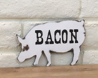 Bacon Wood Sign, Pig Sign, Rustic Pig Sign, Country Kitchen Sign, Black And White Decor, Restaurant/Business Sign, Wooden Pig Sign, Gift